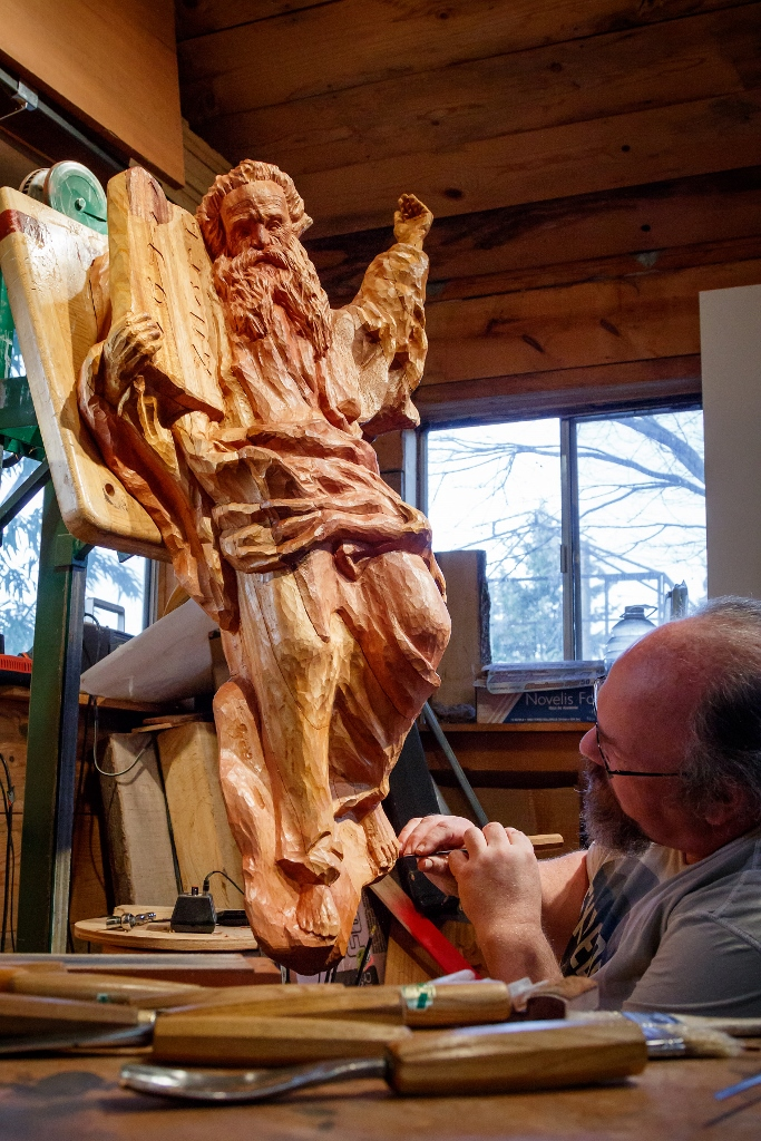 Dale Woodard Carving Moses