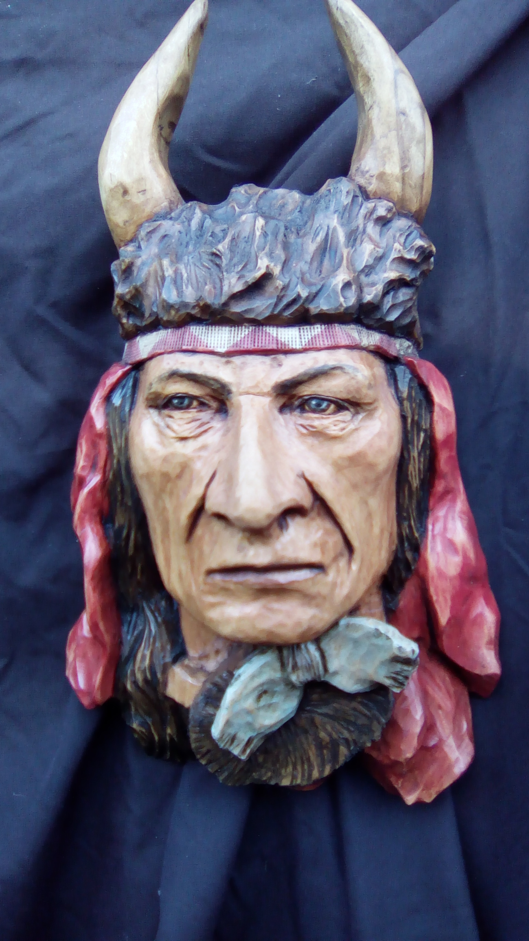 Crow (Apsaroke) with Buffalo Headdress